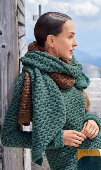 Как связать спицами пуловер с тканым узором и двухцветный шарф