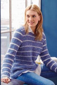 Как связать спицами пуловер в тонкую полоску