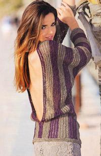 Как связать спицами пуловер с вырезом на спине