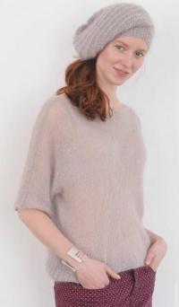 Как связать спицами пушистый пуловер кимоно