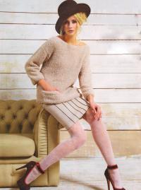 Как связать спицами светлый пуловер с карманами