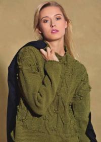 Как связать спицами свитер с арановым узором и шишечками