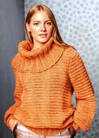 Как связать спицами свитер с большим воротом