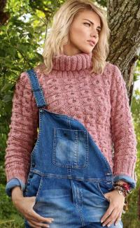 Как связать спицами свитер с косами и большим воротником