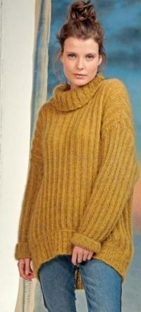 Как связать спицами свитер оверсайз с закругленной линией низа