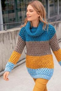 Как связать спицами свитер реглан в крупную полоску и шарф-петля