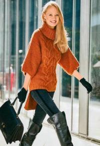 Как связать спицами свитер с удлиненной спинкой и широкими рукавами