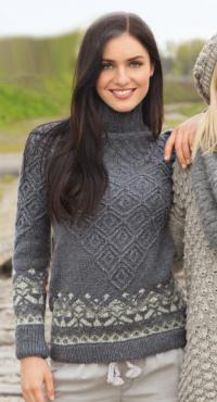 Как связать спицами свитер с жаккардовыми бордюрами