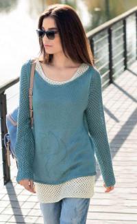Как связать спицами свободный пуловер с сетчатыми рукавами и топ