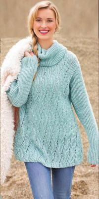 Как связать спицами свободный свитер с ромбами и резинкой