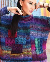 Как связать спицами свободный свитер со вставками из кос