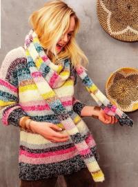 Как связать спицами удлиненный полосатый свитер и длинный шарф