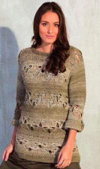 Как связать спицами удлиненный пуловер с ажурным узором мережкой