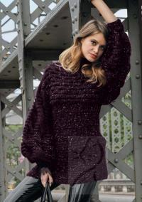 Как связать спицами удлиненный пуловер с объемными рукавами