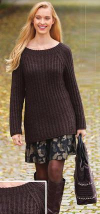 Как связать спицами удлиненный пуловер с рукавом реглан и сумка