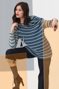 Как связать спицами удлиненный пуловер в полоску свободного покроя