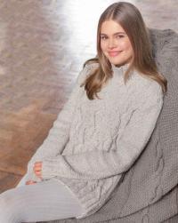 Как связать спицами удлиненный свитер с ромбами и косами