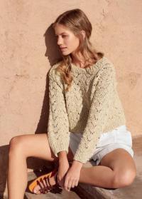 Как связать спицами укороченный пуловер с ажурным рисунком