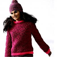Как связать спицами укороченный пуловер с ромбами и шапка с помпоном