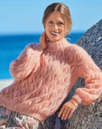 Как связать спицами ультрамягкий ажурный свитер с высоким воротником