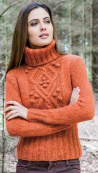 Как связать спицами уютный свитер с шишечками