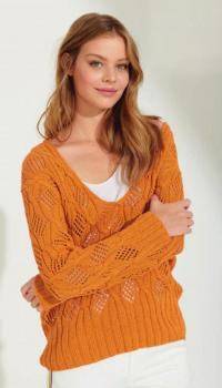 Как связать спицами яркий ажурный пуловер с узором из листьев