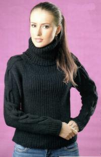 Как связать спицами зимний свитер с косами
