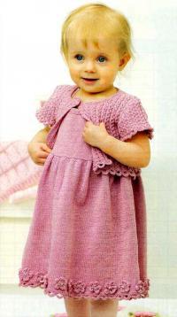 Как связать  праздничное детское платье и болеро