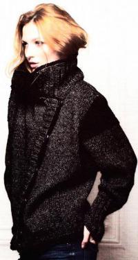 Как связать спицами объемная куртка с высоким воротником