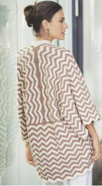Как связать спицами жакет-кимоно с узором зигзаг