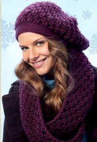 Как связать спицами берет в комплекте с шарфом-хомутом