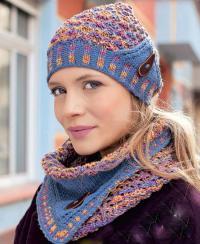 Как связать спицами цветная шапочка и снуд с отворотом