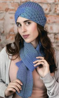 Как связать спицами комплект из шапки-чалмы и шарф