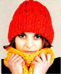 Как связать спицами красная шапка бини резинкой