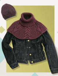 Как связать спицами полосатая шапка бини и шарф-воротник