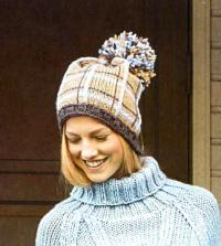 Как связать спицами полосатая шапочка с большим помпоном