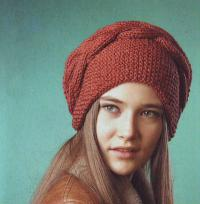 Как связать спицами шапка-мешок и повязка с косой