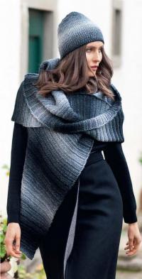 Как связать спицами шапка и шарф резинкой