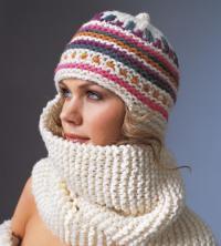 Как связать спицами шапка-шарфик с цветным узором