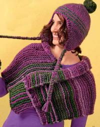 Как связать спицами шапка с ушками, шарфик и варежки из толстой пряжи