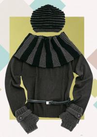 Как связать спицами стильный комплект из шапочки, шарфа-хомута и митенок