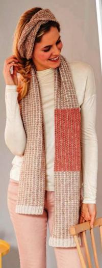 Как связать спицами цветной длинный шарф