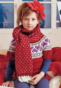 Как связать спицами детский свитер с жаккардовым узором и шарф
