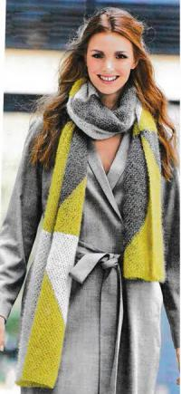 Как связать спицами длинный двухцветный шарф
