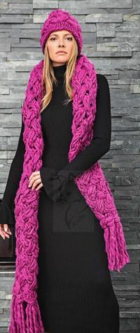 Как связать спицами длинный шарф-косичка с бахромой