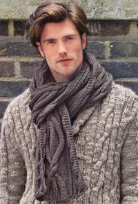 Как связать спицами мужской шарф с объемным узором