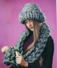 Как связать спицами шапочка и шарфик-снуд из очень толстой пряжи