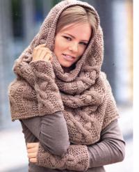 Как связать спицами шарф хомут и напульсники