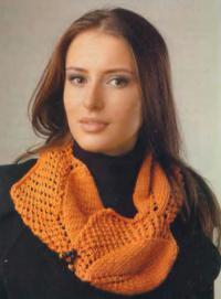 Как связать спицами шарф-снуд с ажурным узором
