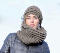 Как связать спицами шарф-снуд и шапочка в тон